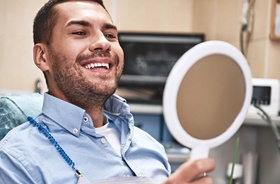 happy male dental patient