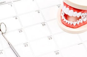 dental tools and calendar
