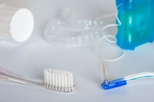 Invisalign and oral hygiene tools
